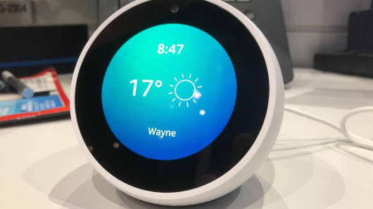 The Amazon Echo Spot shows the weather