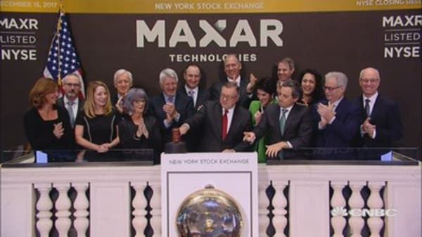 Maxar Technologies rings the closing bell at the NYSE