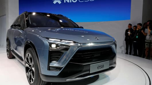 Chinese electric vehicle start-up Nio unveils the ES8 SUV at the Shanghai autoshow, in Shanghai, China April 19, 2017.