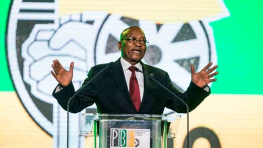 South African President Jacob Zuma speaks in Johannesburg, South Africa, on December 15, 2017, on the eve of the ANC's 54th National Conference.