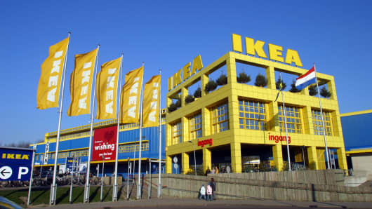 The exterior of an IKEA store in Delft, the Netherlands.