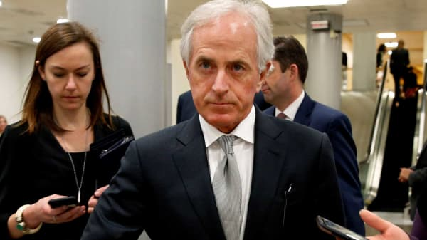 Senator Bob Corker (R-TN) departs after a nomination vote on Capitol Hill in Washington, December 13, 2017.