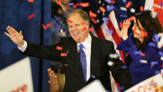 Democratic Alabama U.S. Senate candidate Doug Jones and wife Louise acknowledge supporters at the election night party in Birmingham, Alabama, December 12, 2017.