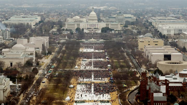 Attendees partake in the inauguration ceremonies to swear in Donald Trump as the 45th president of the United States at the U.S. Capitol in Washington, U.S., January 20, 2017.
