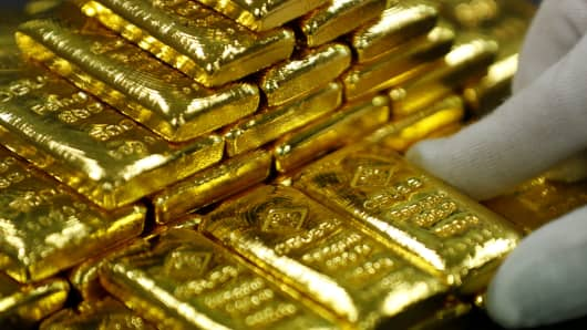Gold bars at the Austrian Gold and Silver Separating Plant in Vienna, Austria.