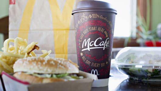 A McDonald's Corp. McCafe coffee and food items