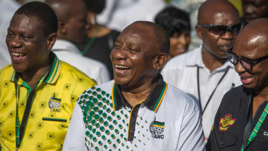 Cyril Ramaphosa, newly elected president of South Africa's African National Congress, is pictured at the party's National Conference on December 19, 2017, in Johannesburg.