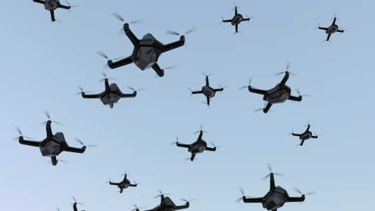 A 3D rendering of a swarm of drones.