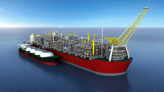 A graphic of the Prelude FLNG offloading gas to a tanker.