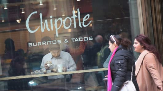 Diners eat at a Chipotle restaurant in Chicago.