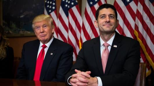 President Donald Trump meets with House Speaker Paul Ryan.