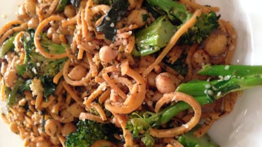 Za'atar Sweet Potato Noodles with Crispy Chickpeas and Broccolini from Purple Carrot
