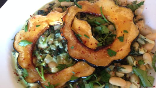 Maple-Glazed Acorn Squash with Creamed Spinach and Cannellini Beans from TB12