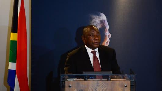 Cyril Ramaphosa speaks during an event commemorating the third anniversary of former South African president Nelson Mandela's death in Johannesburg, South Africa, on Dec. 5, 2016.