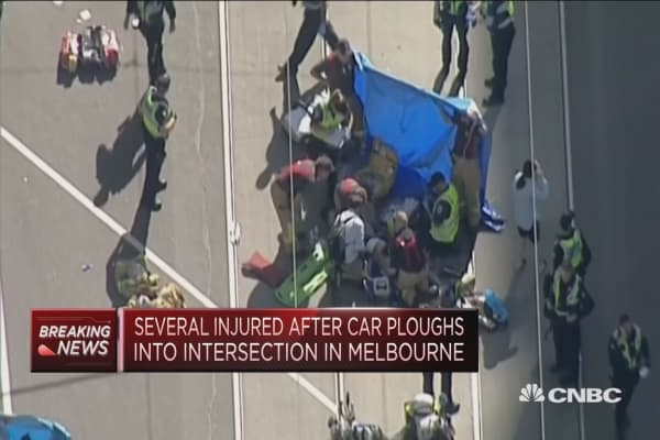 14 injured in Melbourne after car rams into pedestrians