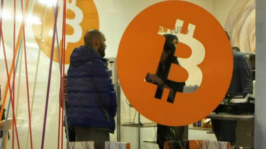 A Bitcoin crypto-currency shop in Rovereto, Italy.