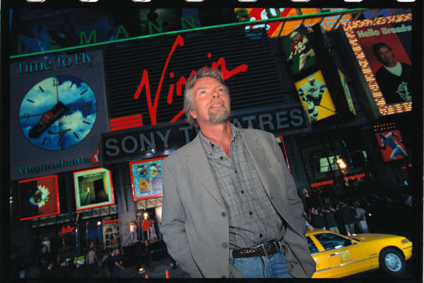 Richard Branson at the opening of a Virgin Megastore in Times Square, New York City, in 1996