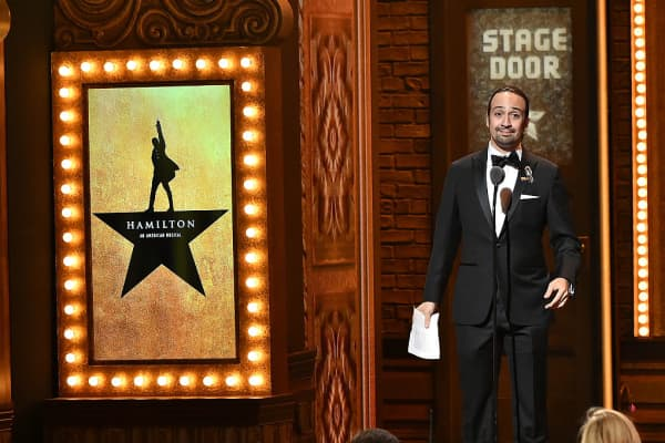 Songwriter Lin-Manuel Miranda accepts the award for Best Original Score (Music and Lyrics) Written for the Theater for his work in Hamilton onstage during the 70th Annual Tony Awards at The Beacon Theatre on June 12, 2016