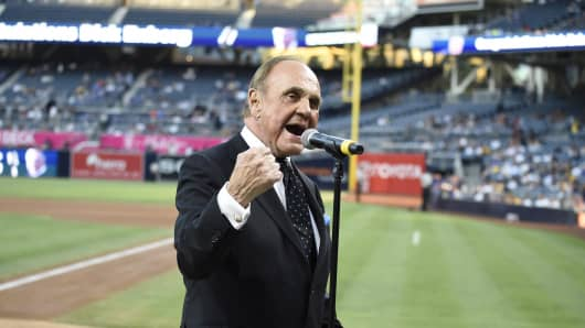 San Diego Padres announcer Dick Enberg talks to the crowd during a ceremony held before a baseball game at PETCO Park on September 29, 2016.