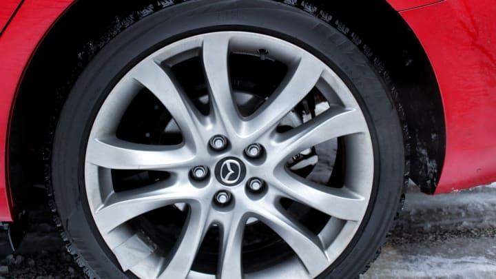Blizzak snow tires on a Mazda