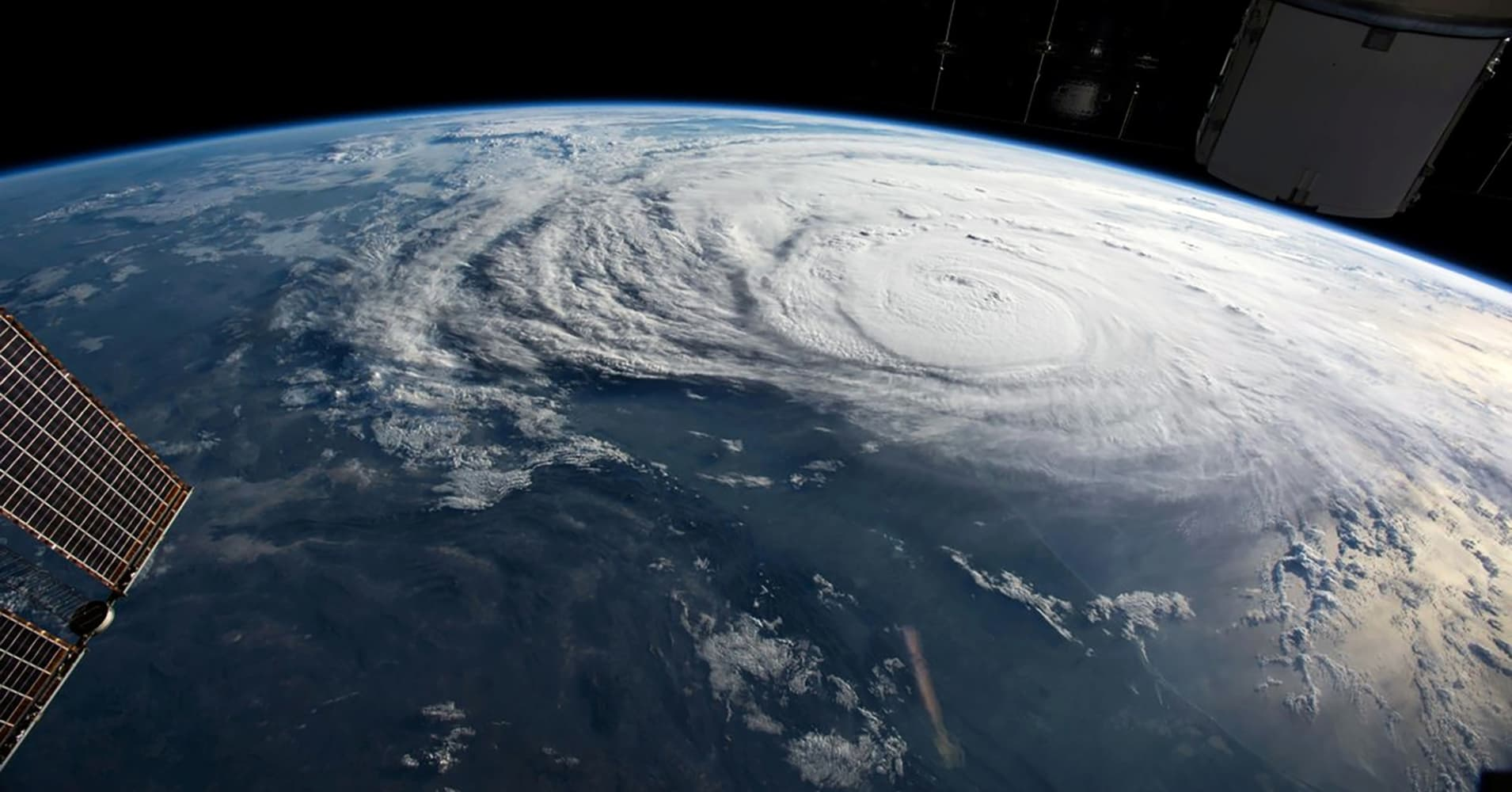Hurricane Harvey is pictured off the coast of Texas, U.S. from aboard the International Space Station in this August 25, 2017 NASA handout photo.