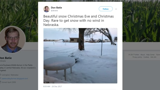 Don Batie, a central Nebraska farmer, tweets about the snowstorm that swept across the country over the Christmas holiday.