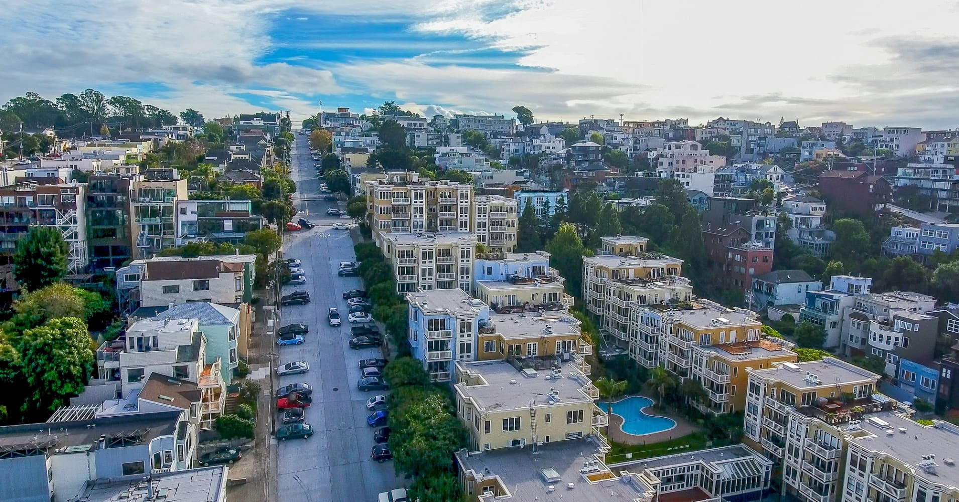 Aerial view of residential area of San Francisco just outside the downtown district.