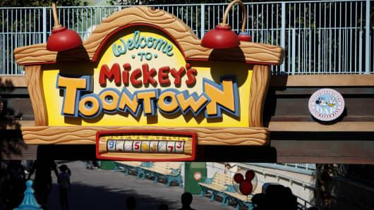 Guests enter Mickey's Toon Town at Walt Disney Co.'s Disneyland Park, part of the Disneyland Resort, in Anaheim, California.