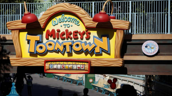 Guests enter Mickey's Toon Town at Walt Disney Co.'s Disneyland Park, part of the Disneyland Resort, in Anaheim, California.