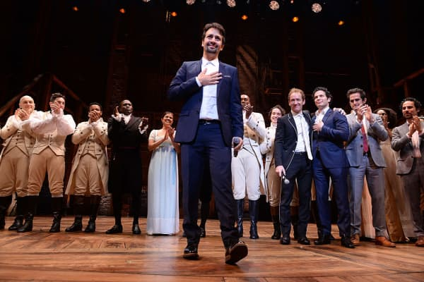 Lin-Manuel Miranda attends the curtain call for 'Hamilton' Chicago opening night at PrivateBank Theatre on October 19, 2016 in Chicago