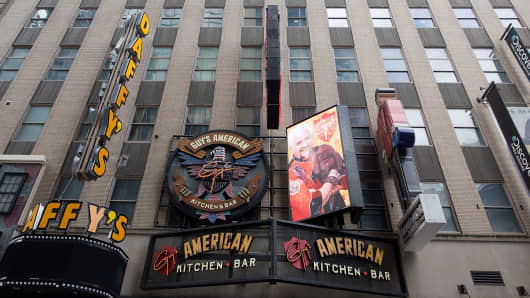 A general view of the exterior of Guy's American Kitchen and Bar restaurant on February 21, 2013 in New York City.