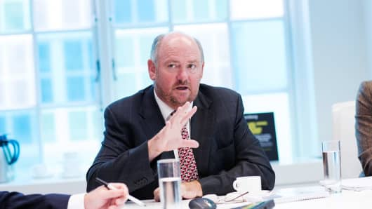 Richard Cousins, chief executive officer of Compass Group Plc, gestures during an interview in London, U.K., on Wednesday, Oct. 1, 2014. The U.K. economy grew faster than estimated in the second quarter, extending a recovery from a recession that was not as severe as previously thought.