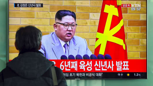A South Korean television news broadcast showing North Korean leader Kim Jong-Un's New Year's speech on January 1, 2018.