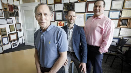 Frequency Therapeutics founders Bob Langer, David  Lucchino, and Jeff Karp in Cambridge, Massachusetts, April 10, 2017. The company is developing disease-modifying treatment for hearing loss.