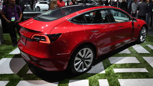 Exterior of the new Tesla Model 3 at the 2017 LA Auto Show in Los Angeles California