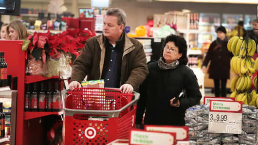 Customers shop at a Target store in Chicago, Illinois.