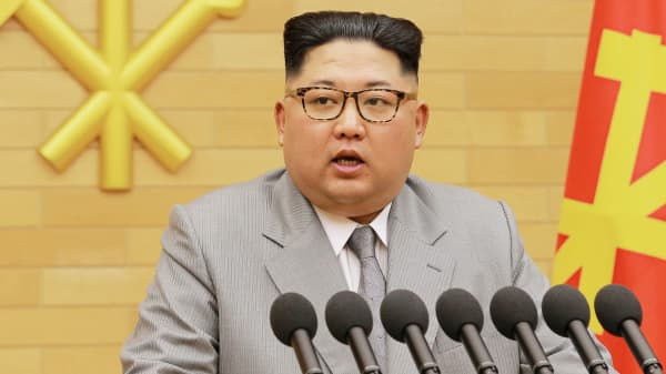 North Korea's leader Kim Jong Un speaks during a New Year's Day speech in this photo released by North Korea's Korean Central News Agency (KCNA) in Pyongyang on January 1, 2018.