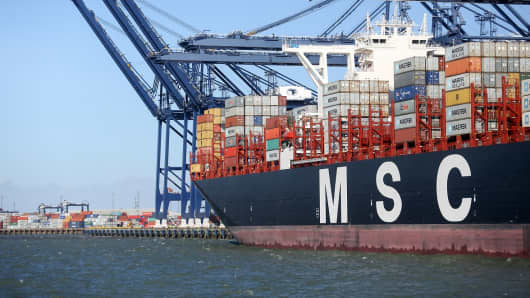 The Mediterranean Shipping Co. (MSC) Oscar container ship sits dockside at the Port of Felixstowe Ltd., a subsidiary of CK Hutchison Holdings Ltd., in Felixstowe, U.K.