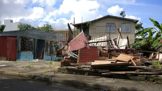 A damaged house from Hurricane Maria is seen in San Juan, Puerto Rico on Dec. 30, 2017.