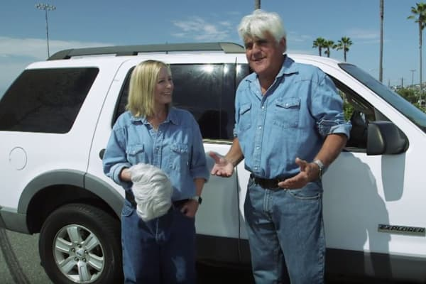 "Debbie Evans and Jay Leno on CNBC's ""Jay Leno's Garage"""