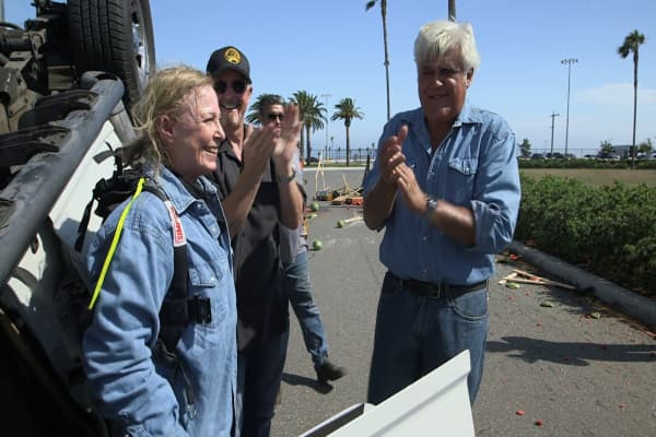 Jay Leno flips an SUV with an award-winning stuntwoman Debbie Evans