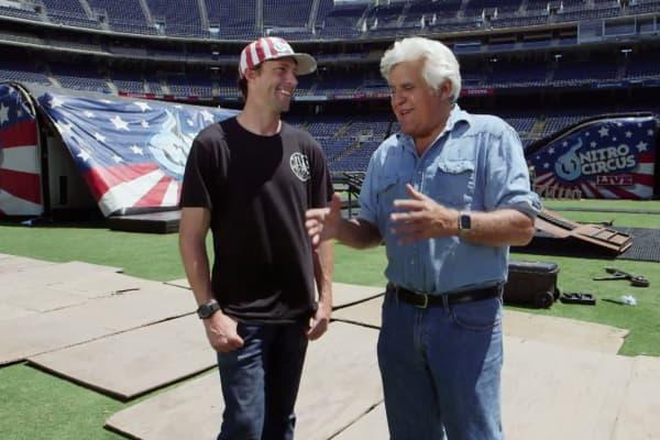"""Travis Pastrana and Jay Leno on CNBC's """"Jay Leno's Garage"""""""
