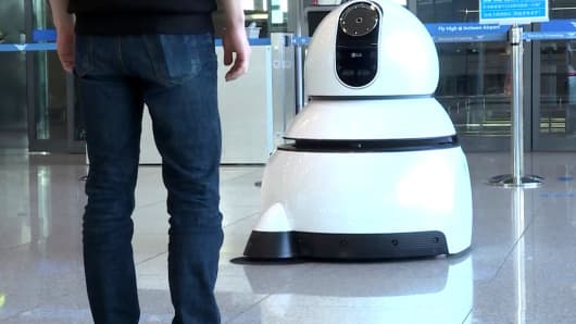LG robot designed to clean airports.