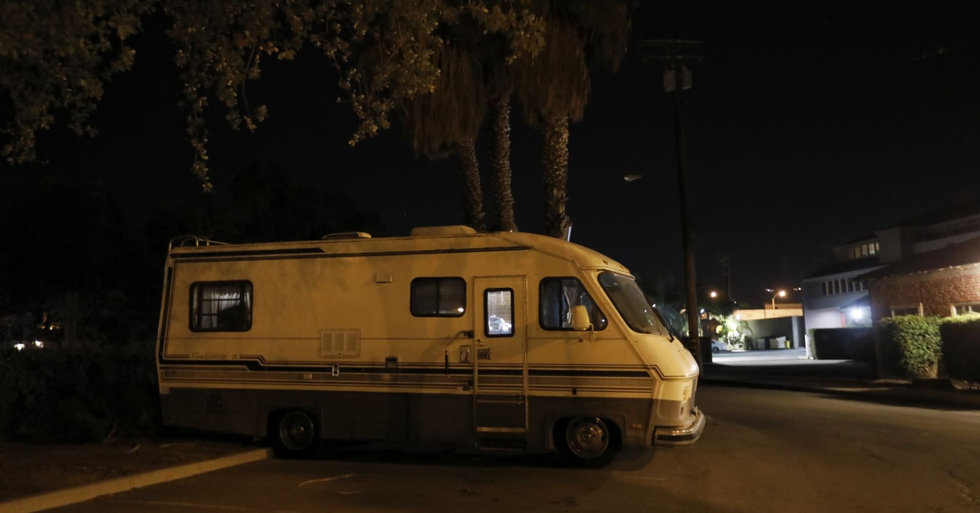 Kathy, 65, and Phil, 74, live together in this RV along with their aging Standard Poodle in a parking lot on December 18, 2017 in Santa Barbara, California. She currently works part time in Santa Barbara and struggles financially. She says she spent her career working as a paralegal and was a homeowner.