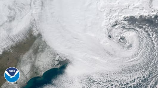 Satellite view of a massive storm system over the north eastern United States at 2pm est on Jan. 4th, 2018.