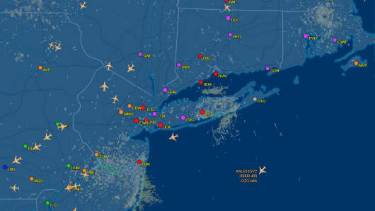 A map showing flight diversions over the north east due to Winter Storm Grayson.