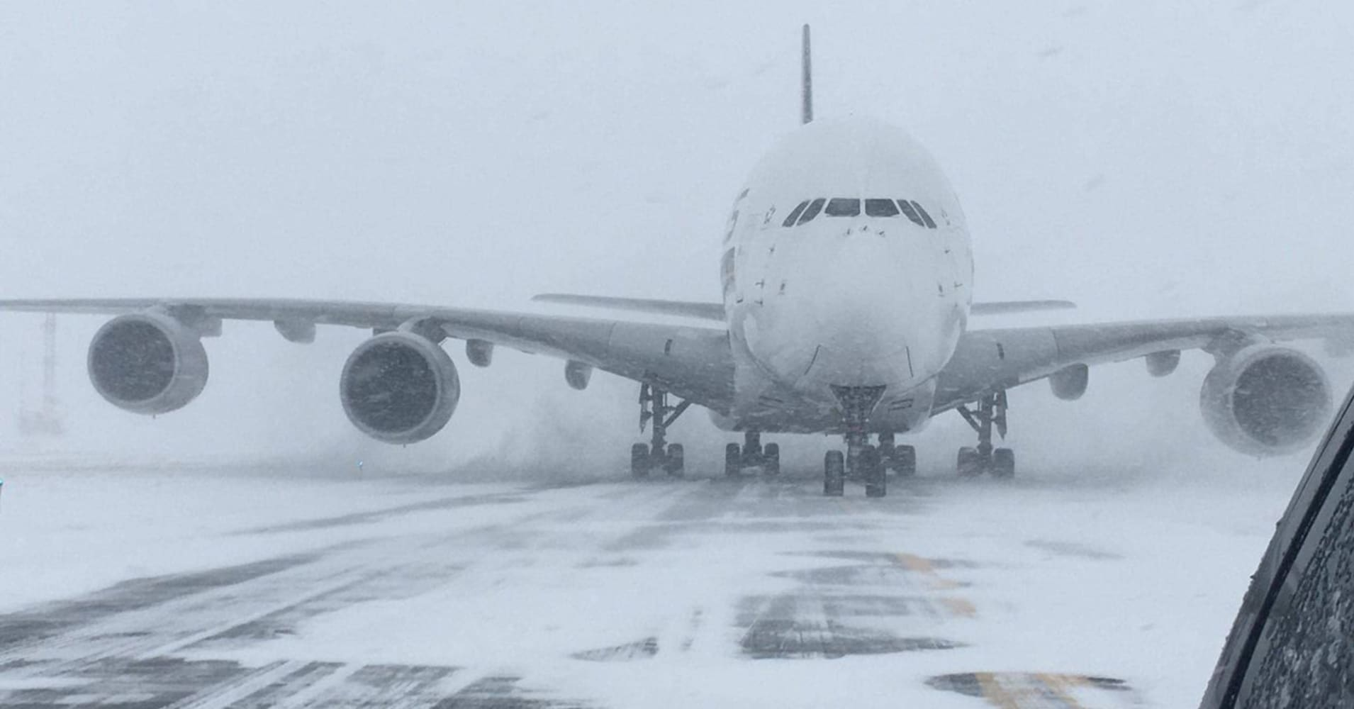 A Singapore Airlines A380 landed at Stewart Airport due to blizzard