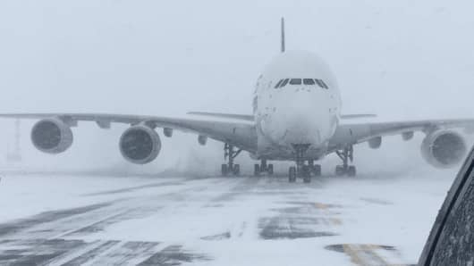 Bomb cyclone forces CAL to cancel four JFK flights
