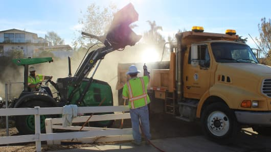 Ventura County Public Works Agency teams engaged in debris clean-up this week near Thomas fire burn areas.
