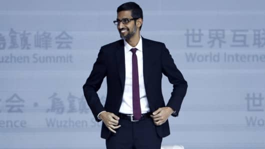 Sundar Pichai speaks at the 4th World Internet Conference on December 3, 2017 in Wuzhen, China.